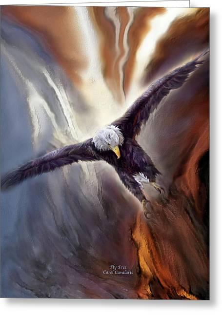 Eagle Mixed Media Greeting Cards - Fly Free Greeting Card by Carol Cavalaris