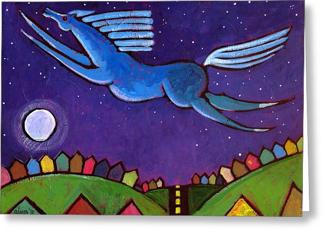 Night Out Paintings Greeting Cards - Fly Free from Normal Greeting Card by Angela Treat Lyon