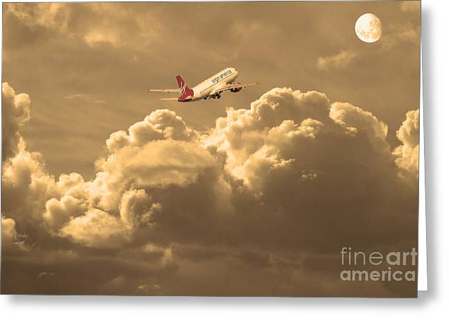 737 Greeting Cards - Fly Me To The Moon . Partial Sepia Greeting Card by Wingsdomain Art and Photography
