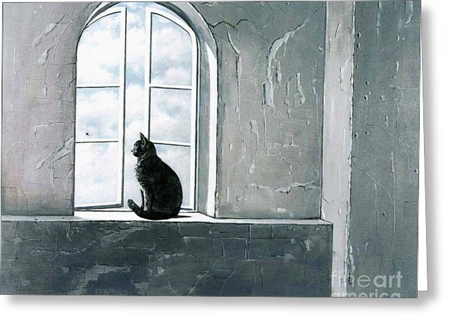 Open Window Paintings Greeting Cards - Fly Watching Greeting Card by Robert Foster
