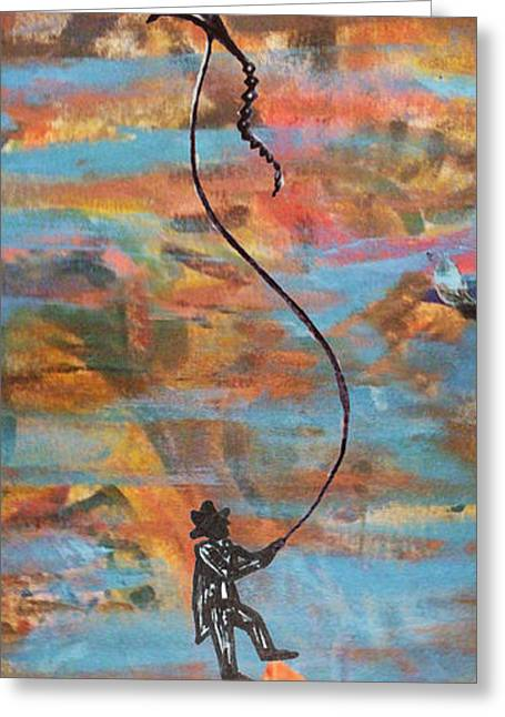 Kites Mixed Media Greeting Cards - Flying a kite Greeting Card by Maria Leyden