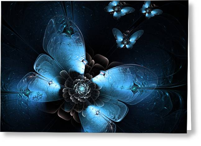 Karlajkitty Digital Art Greeting Cards - Flying At Night Greeting Card by Karla White
