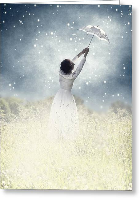 Umbrella Greeting Cards - Flying away Greeting Card by Joana Kruse