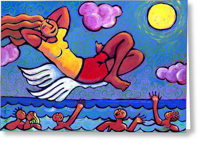 Ocean Artist Greeting Cards - Flying by the Seat of My Pants Greeting Card by Angela Treat Lyon