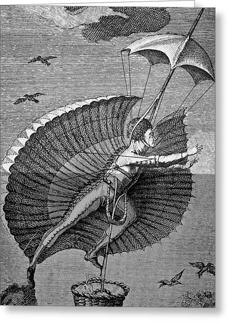 History Of Flying Greeting Cards - Flying Costume Greeting Card by Science, Industry & Business Librarynew York Public Library