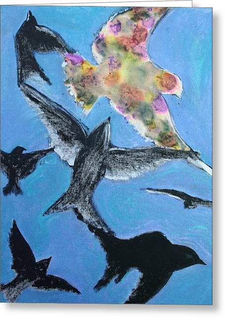 Flying Bird Pastels Greeting Cards - Flying Free Greeting Card by Alma Yamazaki