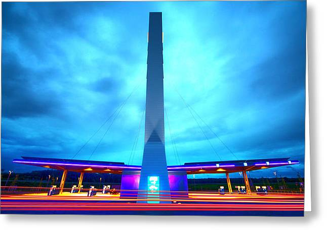 Licht Greeting Cards - Flying Fuelstation Greeting Card by Thomas Splietker