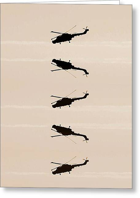 Helicopter Greeting Cards - Flying high Greeting Card by Sharon Lisa Clarke