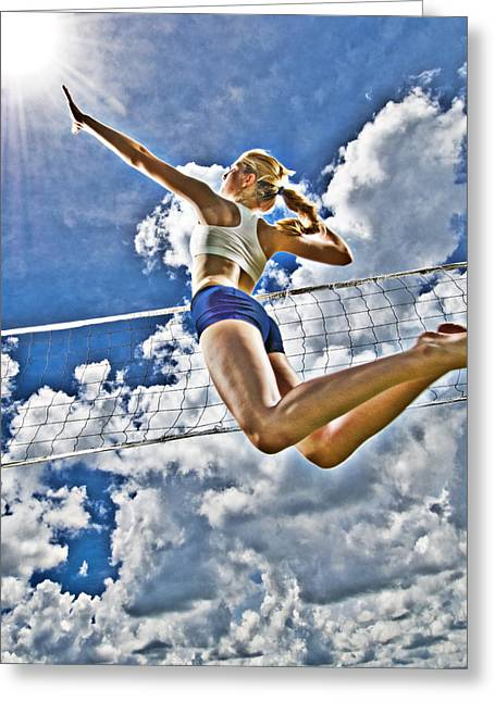 Volleyball Greeting Cards - Flying high Greeting Card by Steve Williams