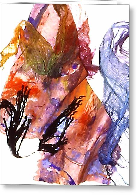 Bagua Art Mixed Media Greeting Cards - Flying in the wind Greeting Card by Catherine Foster