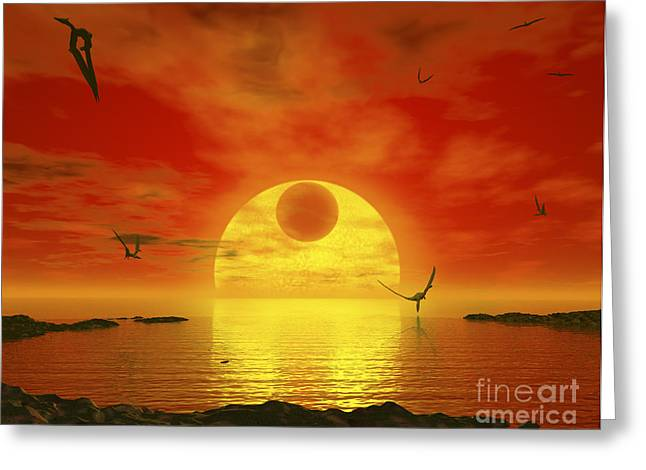 Ocean Vista Digital Art Greeting Cards - Flying Life Forms Grace The Crimson Greeting Card by Walter Myers