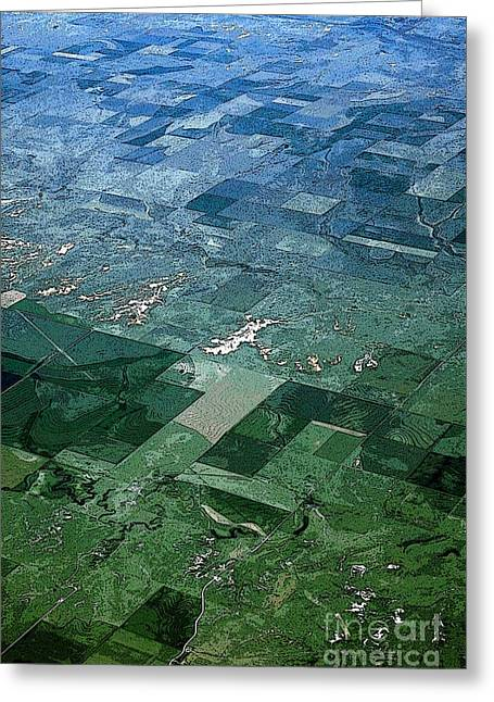 Struckle Greeting Cards - Flying Over Kansas Greeting Card by Kathleen Struckle