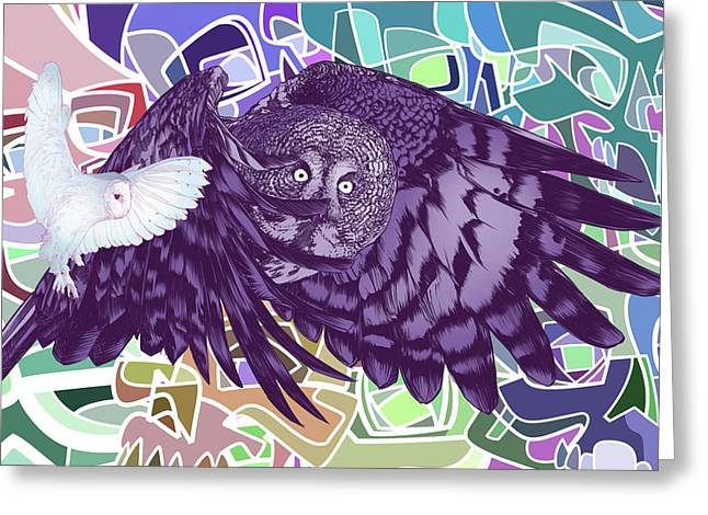 Flying Over Skulls Greeting Card by Nelson Dedos Garcia