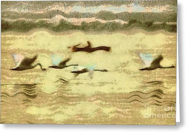 Sweating Paintings Greeting Cards - Flying swans Greeting Card by Odon Czintos