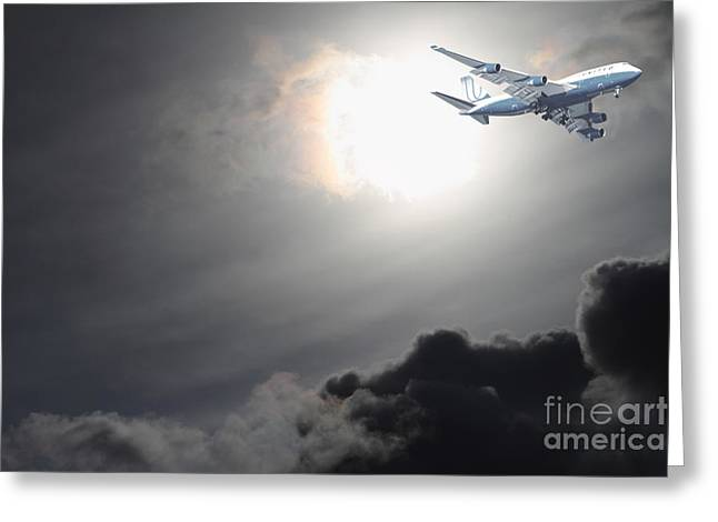 Landing Jet Greeting Cards - Flying The Friendly Skies Greeting Card by Wingsdomain Art and Photography