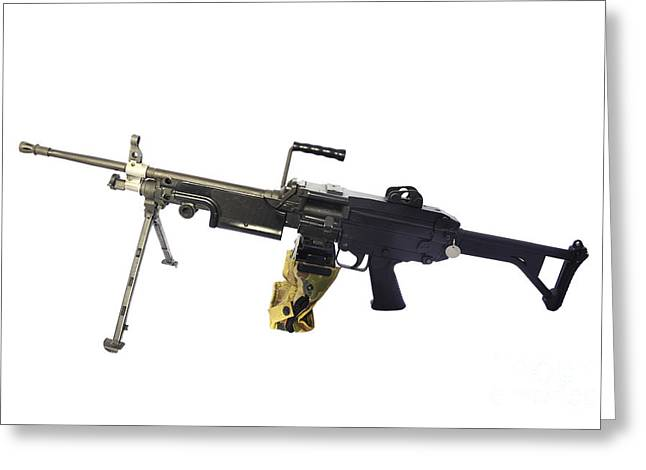 Copy Machine Greeting Cards - Fn Minimi 5.56mm Light Machine Gun Greeting Card by Andrew Chittock