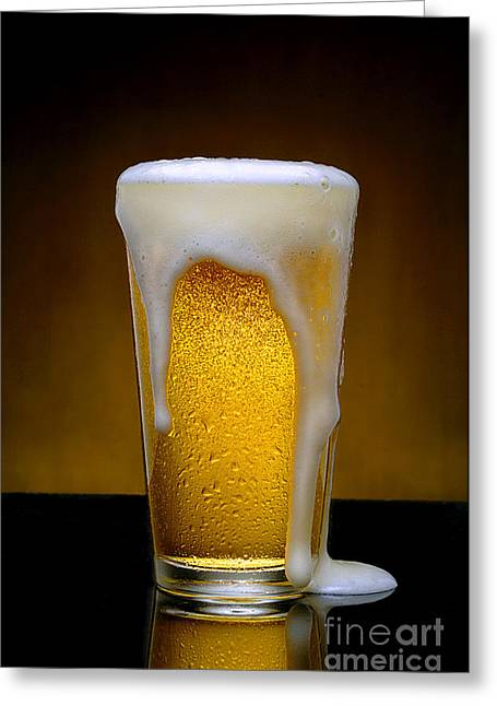 Beverage Pyrography Greeting Cards - Foaming Beer Greeting Card by Gib Martinez