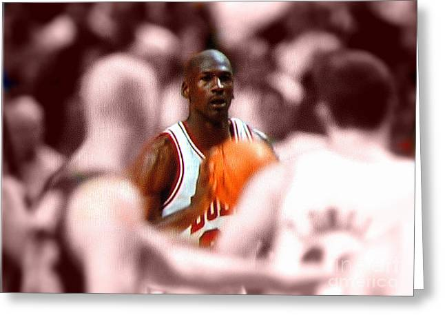 Michael Jordan Greeting Cards - Focus Greeting Card by Brandon Ramquist