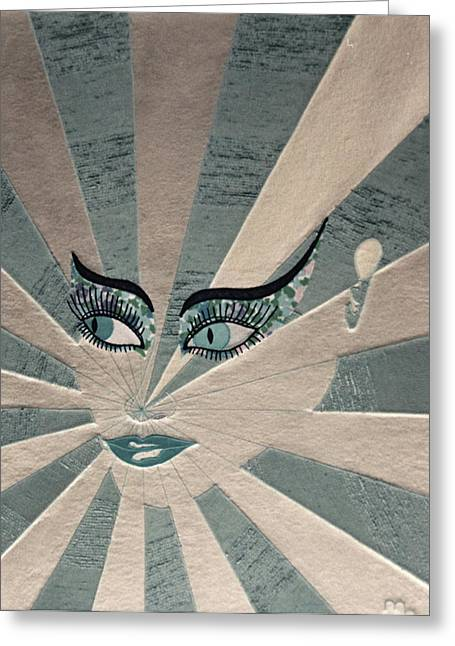 Face Tapestries - Textiles Greeting Cards - Focus Greeting Card by Marie Halter