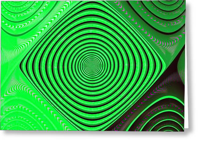 Focus On Green Greeting Card by Carolyn Marshall