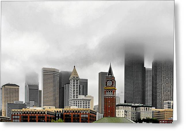 Misty Greeting Cards - Fog accents of Seattle WA Greeting Card by Christine Till