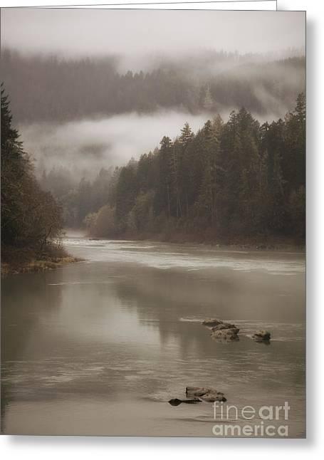 Umpqua River Greeting Cards - Fog along the Umpqua river Greeting Card by Timothy Johnson