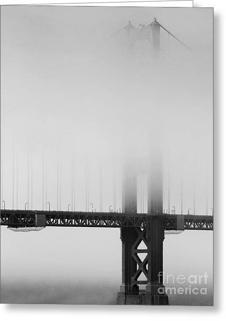 Wingsdomain Greeting Cards - Fog at the Golden Gate Bridge 4 - Black and White Greeting Card by Wingsdomain Art and Photography