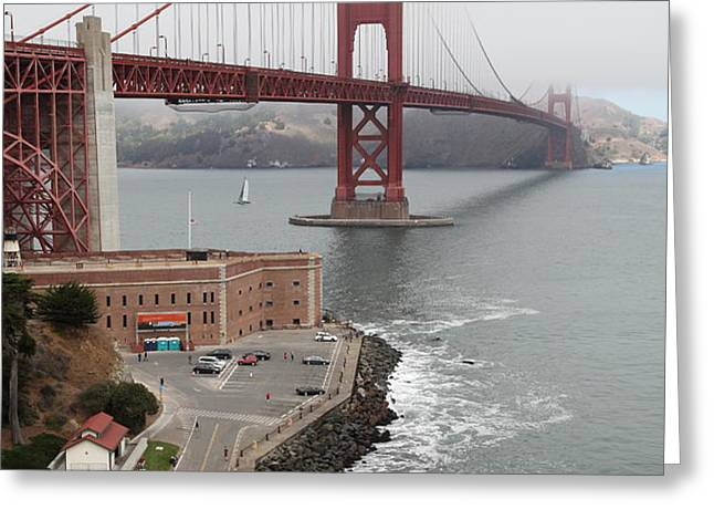 Fog At The San Francisco Golden Gate Bridge - 5D18872 Greeting Card by Wingsdomain Art and Photography
