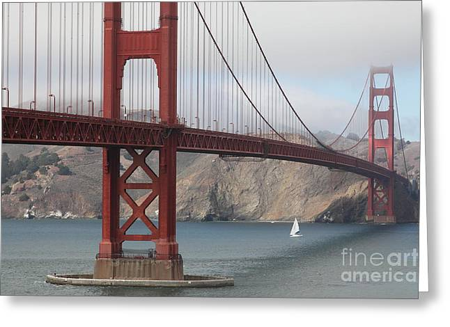 Foggy Beach Greeting Cards - Fog At The San Francisco Golden Gate Bridge - 5D18899 Greeting Card by Wingsdomain Art and Photography