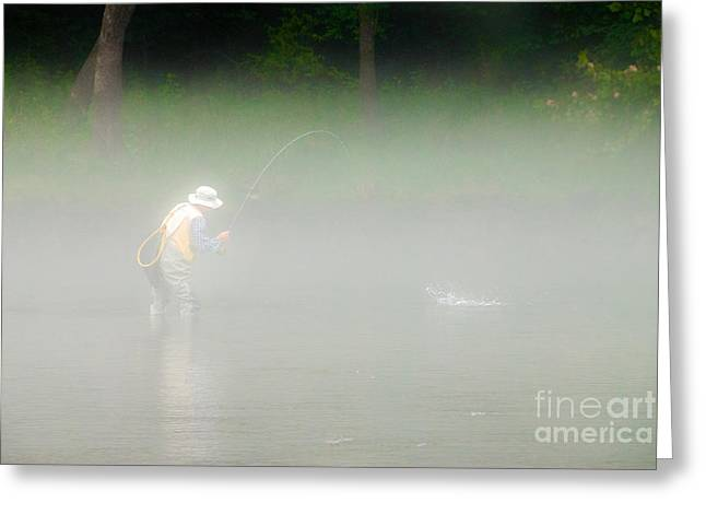 Fog Fishing Greeting Card by Cindy Tiefenbrunn