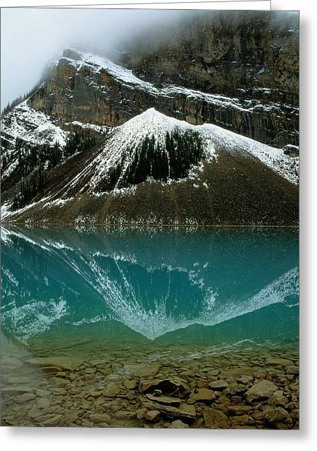 Fog Has Lifted From Lake Louise Greeting Card by Raymond Gehman