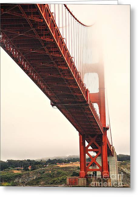 Famous Bridge Greeting Cards - Fog lifting at the Golden Gate Greeting Card by Cheryl Young
