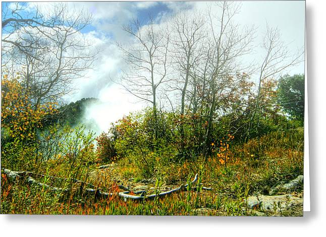 Myeress Greeting Cards - Fog on Mountain Top Greeting Card by Joe Myeress