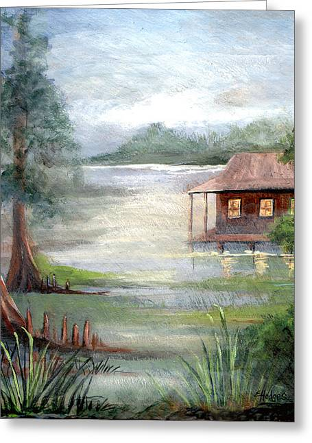 Cabin Window Greeting Cards - Fog on the Bayou Greeting Card by Elaine Hodges