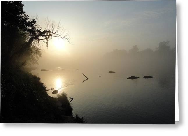 Recently Sold -  - Arkansas Pyrography Greeting Cards - Fog on the White River Greeting Card by Heather Owen