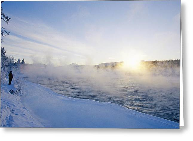 Yukon River Greeting Cards - Fog Rises Off The Yukon River Greeting Card by Paul Nicklen