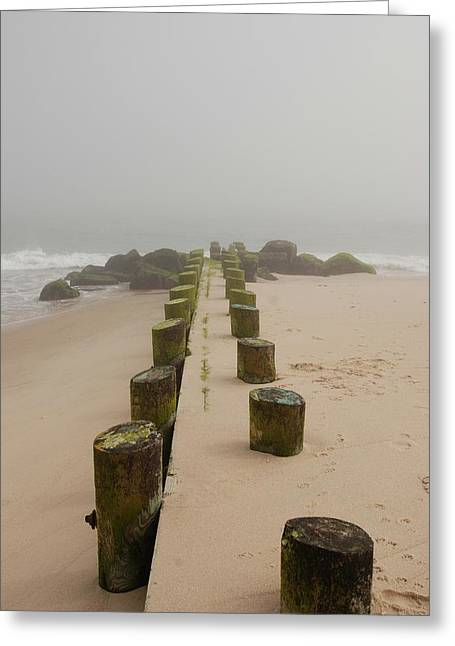 Foggy Beach Greeting Cards - Fog Sits On Bay Head Beach - Jersey Shore Greeting Card by Angie Tirado