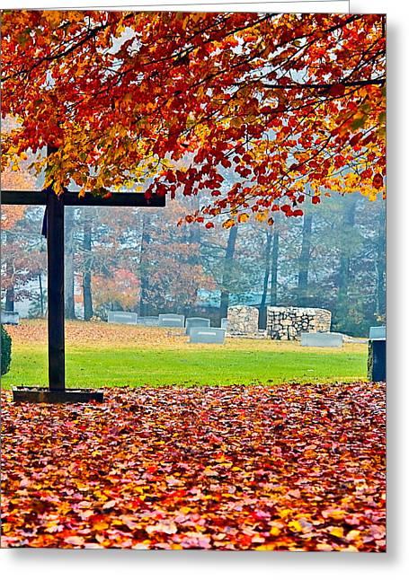 Susan Leggett Greeting Cards - Foggy Autumn Cemetery Greeting Card by Susan Leggett