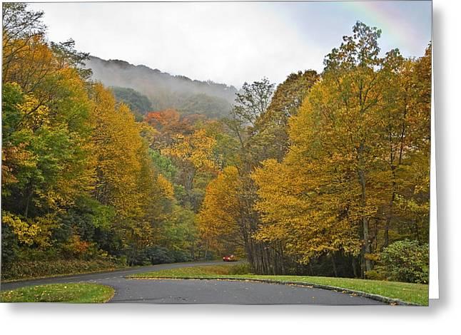 Susan Leggett Greeting Cards - Foggy Autumn Day Greeting Card by Susan Leggett