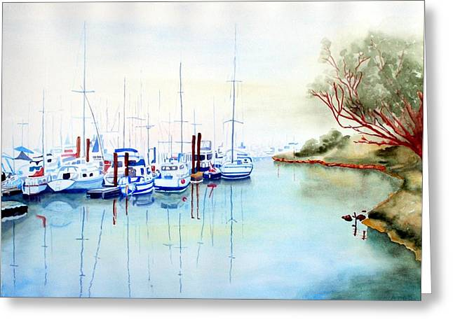 Moss Landing Boats Greeting Cards - Foggy Day at Moss Landing Greeting Card by Gerald Carpenter