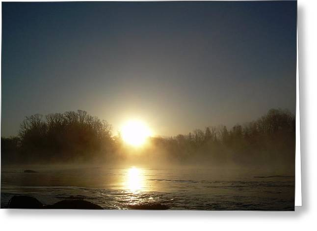 Mississippi River Pyrography Greeting Cards - Foggy Mississippi river Sunrise Greeting Card by Kent Lorentzen