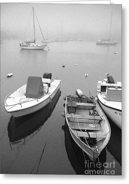Foggy Ocean Greeting Cards - Foggy morning in Cape Cod Black and White Greeting Card by Matt Suess