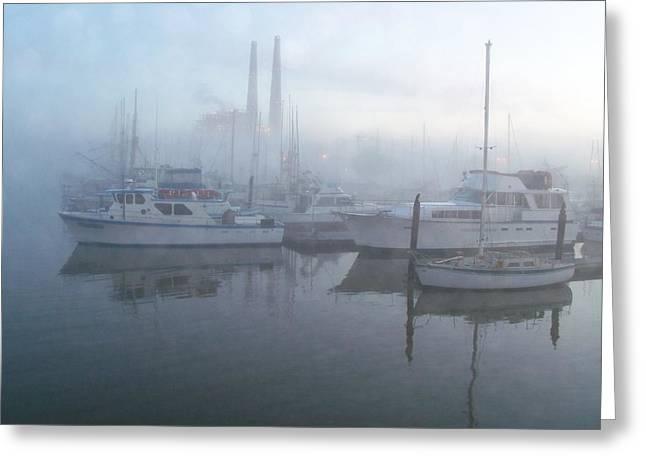 Moss Landing Boats Greeting Cards - Foggy Morning Greeting Card by Jim Salisbury