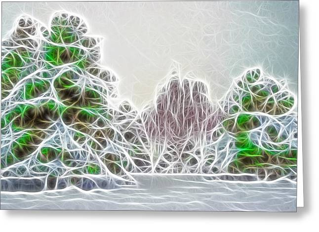 Park Scene Mixed Media Greeting Cards - Foggy Morning Landscape 17 - Fractal Abstract Greeting Card by Steve Ohlsen