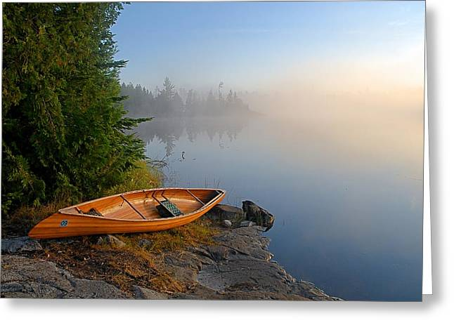 Canoe Greeting Cards - Foggy Morning on Spice Lake Greeting Card by Larry Ricker