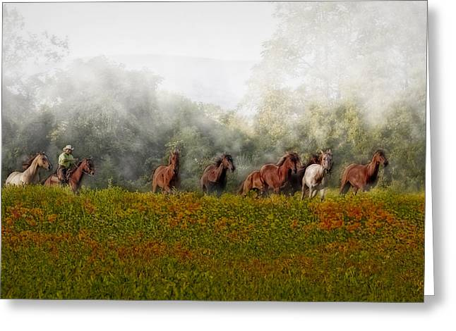 Foggy Morning Greeting Card by Susan Candelario