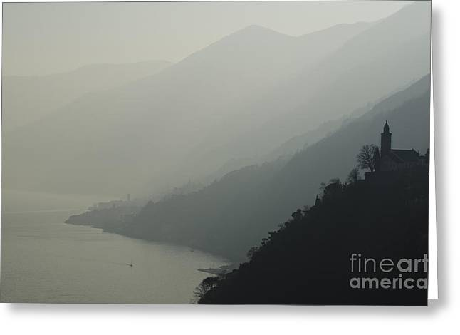 Swiss Cross Greeting Cards - Foggy mountain Greeting Card by Mats Silvan