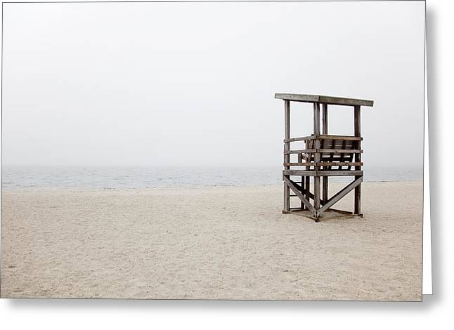 New England Coast Line Greeting Cards - Foggy New England Beach Greeting Card by Jenna Szerlag