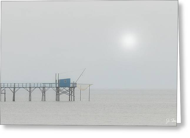 Foggy Ocean Greeting Cards - Foggy Pier Greeting Card by Joe Bonita