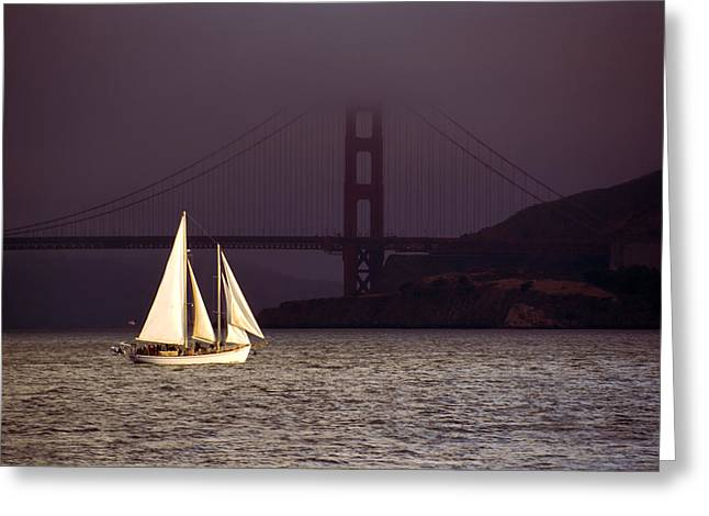 Pacific Ocean Prints Greeting Cards - Foggy Sailing Greeting Card by Anthony Citro